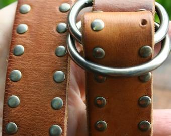 Vintage  Boho Hippie Brown Leather Studded Gap Belt-M