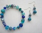 Blue Bracelet and Earrings Set