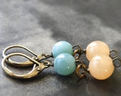 Amazonite and Peach Jade Dangle Earrings / Jewelry / Drop Earrings / Gift for Her / Summer Accessories / Boho Chic Earrings