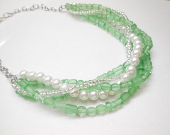Green mint clear white pearl silver chain beaded multi strand bib chunky statement necklace