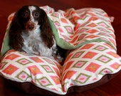 BUNBED w/ COVER Burrow Snuggle Sack Pocket Bed, Dachshund Dog Bed, Small Dog Bed, Mod Mid Century Orange Diamonds, Modern Dog Bed