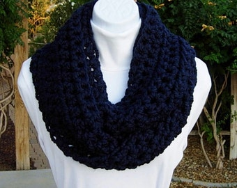 INFINITY SCARF Loop Cowl Navy Dark Solid Blue Wool Acrylic Handmade Crochet Knit Winter Endless Circle, Neck Warmer..Ready to Ship 2 Days