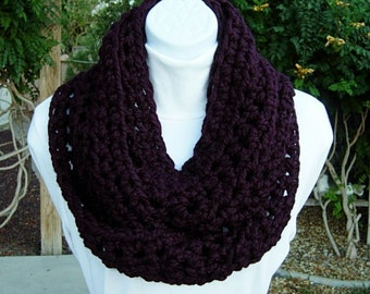 INFINITY SCARF Loop Cowl Solid Dark Eggplant Purple Handmade Crochet Knit Soft Wool Blend Winter Circle, Neck Warmer Ready to Ship in 3 Days