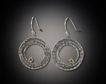 Concentric Circles Earrings with Citrine