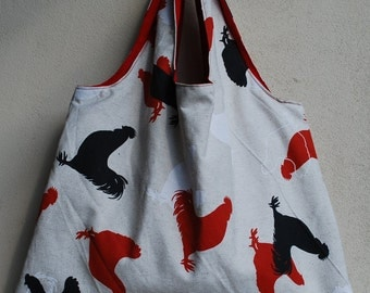 Reversible shopping bag with funny chicken
