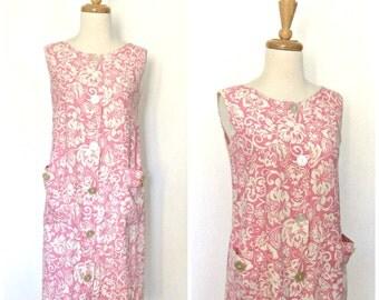 1960s Dress - shift dress - Basila - pink dress - cotton sundress - resort wear - summer fashion - Medium