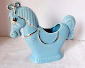 Baby Blue Pony Planter with Gold Leaf Horse Pottery Planter Home and Garden Lawn and Garden Gardening Pots and Planters