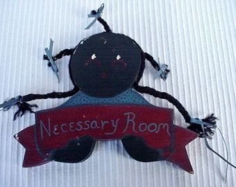 Necessary Room Wood Wall Plaque Little Black Girl with Braids Home and Garden Decor Plaques Black Memorabilia Black Americana Collectibles