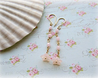 Pink Opal Trumpet Flower earrings, Long Pastel earrings, Light Pink earrings