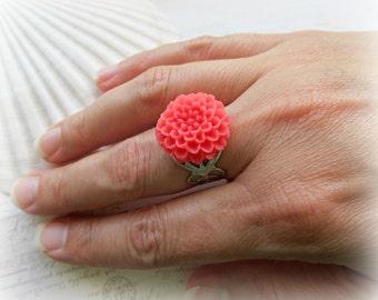 Coral Pink Chrysanthemum Adjustable ring