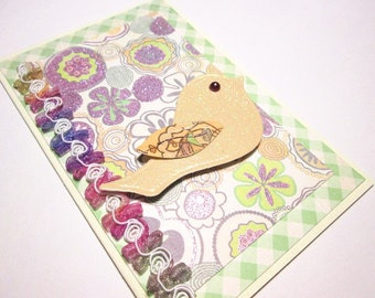 Note Cards - Set of 6 Delightful Bird on sparkle floral All Occasion handmade notes