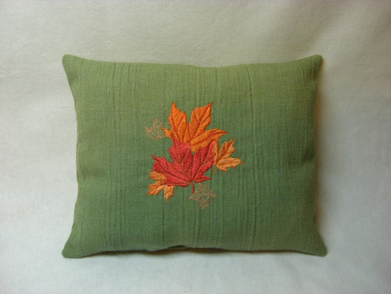 Fall leaves embroidered green pillow by paradisewells on etsy