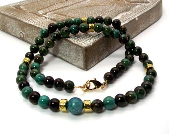 Teal Green and Brown Magnesite Men's Beaded Necklace - Men's Green and Brown Necklace