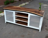 Reclaimed Walnut Wood and Steel Frame Media Credenza