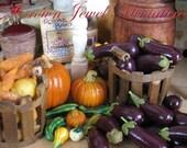 Two Fresh 1:12 Eggplants by IGMA Artisan Robin Brady-Boxwell - Crown Jewel Miniatures