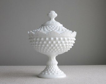 Vintage Hobnail Milk Glass Footed Candy Dish by Fenton White - Crown Top Covered Dish - Footed Bowl with Lid