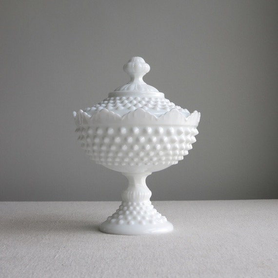 Vintage Hobnail Milk Glass Footed Candy Dish by Fenton White - Crown Top Covered Dish