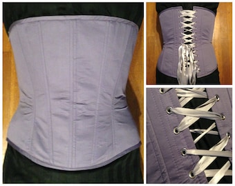 "55% off! 38"" waist, Lavender overbust corset, cotton sateen, new, hand made by Jupiter Moon 3"