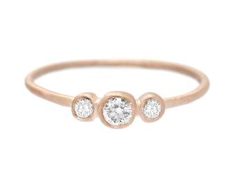 Diamond Ring, Engagement Ring, Diamond Engagement Ring, Mothers Ring, 3 Stone Ring, Rose Gold Ring, Birthstone Ring, Rose Gold, Nixin