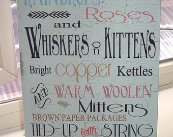 shabby chic sound of music my favorite things raindrops on roses nursery sign wooden plaque