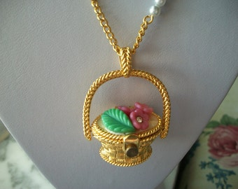 Edgar Berebi Spring Wish Basket Pendant on Chain Necklace