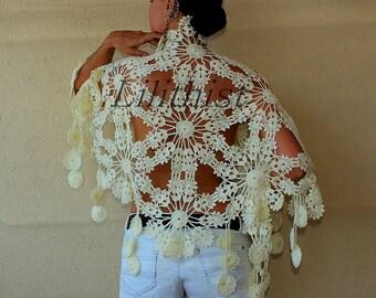 Ivory Shawl, Lace Shawl, Flower Shawl, Crochet Shawl, Crochet Scarf, Gold Glitter Ivory Bridal Shawl Capelet, Wedding Cover Up