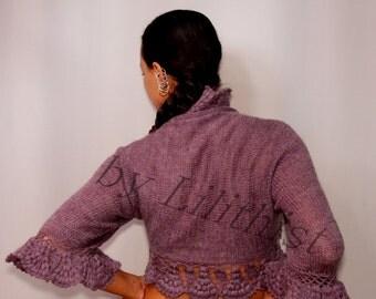 Purple Knit Shrug, Crochet Bolero,Knit Bolero, Lavander Bridal Bolero Shrug, Crochet Bolero, Mohair 3/4 Sleeve Shrug Sweater, Cardigan S-M-L