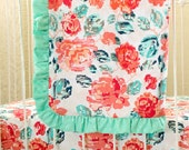 Pixie Park Baby Girl Ruffle Trim Blanket featuring Coral and Navy Roses for Boutique, Handmade Nursery Accessory