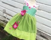 Elsa Inspired Frozen Fever Dress Up Costume Sweetheart Flutter Sleeve  Dress...Made to Order