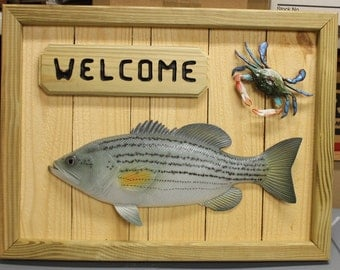 Rockfish and Crab Nautical Decor - Handcrafted Wooden Welcome Sign