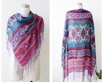Womens Gift Boho Scarf, Boho Shawl, Large Gauze Shawl, Southwestern Pattern Scarf