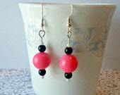 Bubblegum Pink Earrings - Beaded Dangle Hot Pink Summer Jewelry Gift