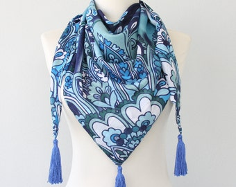 Blue tasseled scarf sheer summer scarf bohemian chic scarf women accessories paisley scarf floral summer scarves boho triangle scarf / ELLA