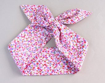 Pink headband pin up headband floral hair wrap cotton headband adult headband woman rockabilly headband top knot headband tie up headband