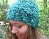 Cabled hand knitted hat, hand spun yarn, teal green, ,merino wool,