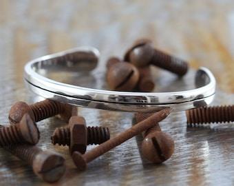Mens Silver Bracelet Personalized Antique Silver Line Cuff