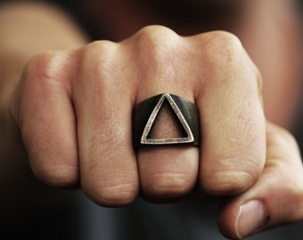 SALE Mens Ring Gold Triangle Rings Oxidized Brass Persoanlized Jewelry