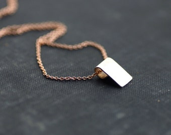 Sterling Tag on Rose Gold Chain Necklace