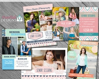 INSTANT DOWNLOAD - Aztec Summer Marketing Board Collection- Set of 5 custom 5x7 photo templates