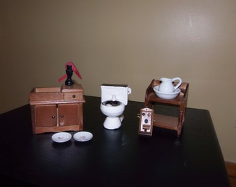 Vintage Dollhouse Miniature Furniture, 6 piece lot-- Sink, Toilet, Wash Table, Phone and Plates
