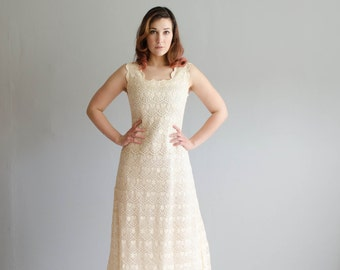 Vintage 60s Crochet Lace Dress - 1960s Wedding Dress - Honey Love Dress