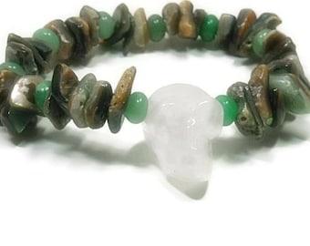 Skull Bracelet - Rock Crystal Quartz Skull - Shell Bracelet with Skull - Day of the Dead - Rocker - Camo - Mens Skull Jewelry - Camoflauge