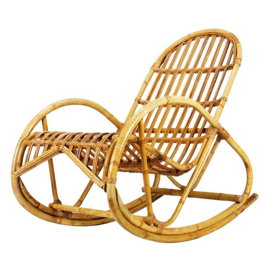 vintage 1950s franco albini style rattan rocking chair