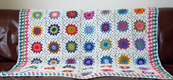 "Crochet Afghan Blanket White Sunburst Granny Squares 50"" x 50"" In Stock Ready to Ship"
