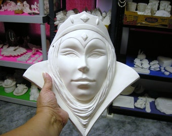 The Wicked Queen Mask Ceramics Ready to Paint Poured by CrazyOldLadyJC