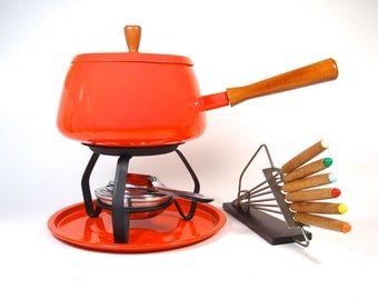 Orange Fondue Pot, Stand & Forks - Like New