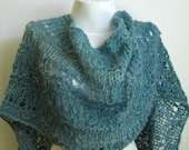 Turquoise Shawl / Handspun Wool Shawl / Hand Dyed Wool Wrap / Sea &Sky Blue / Loose Knit Shawl / Extra Long Wool Stole