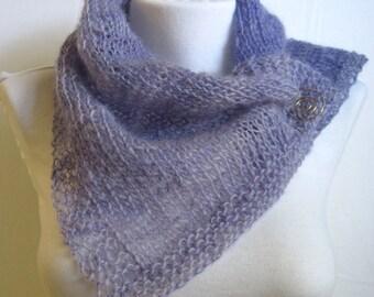 Wisteria Blue Scarf / Handknit Wool Scarf / Knitted Scarflette / Neckwarmer / Handspun Wool / Blue Violet / Fine Knit Scarf