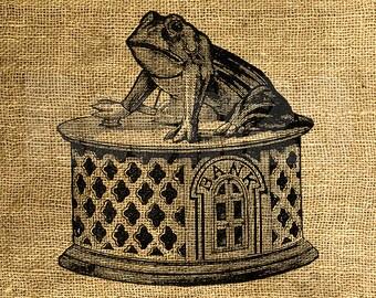 INSTANT DOWNLOAD - Bank Frog Vintage Illustration - Download and Print - Image Transfer - Digital Sheet by Room29 - Sheet no. 1243