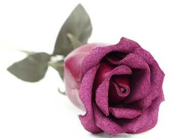 Leather rose third Anniversary wedding gift Violet Long Stem leather flower Valentine's Day 3rd Leather Anniversary Mother's Day Prom